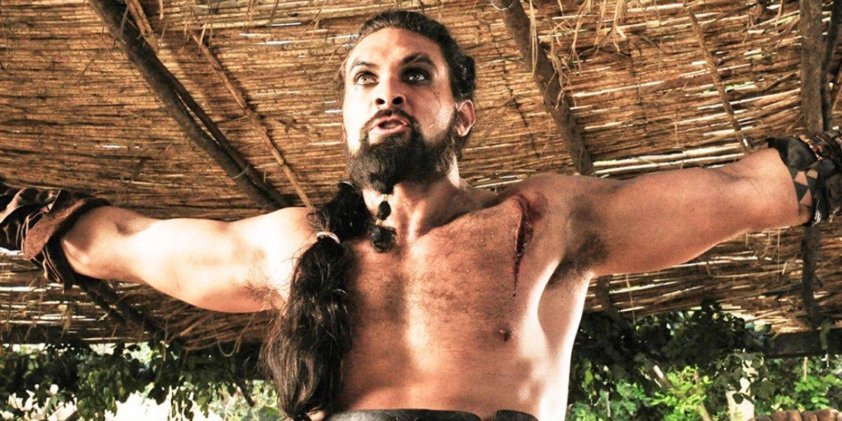 Jason Momoa shirtless as Khal Drogo in Game of Thrones