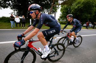 Luke Rowe leads Geraint Thomas on stage 2 of the Tour de France
