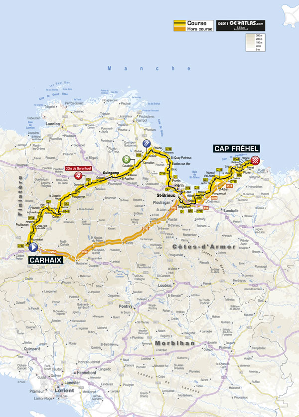 Stage 5 map, Tour de France 2011