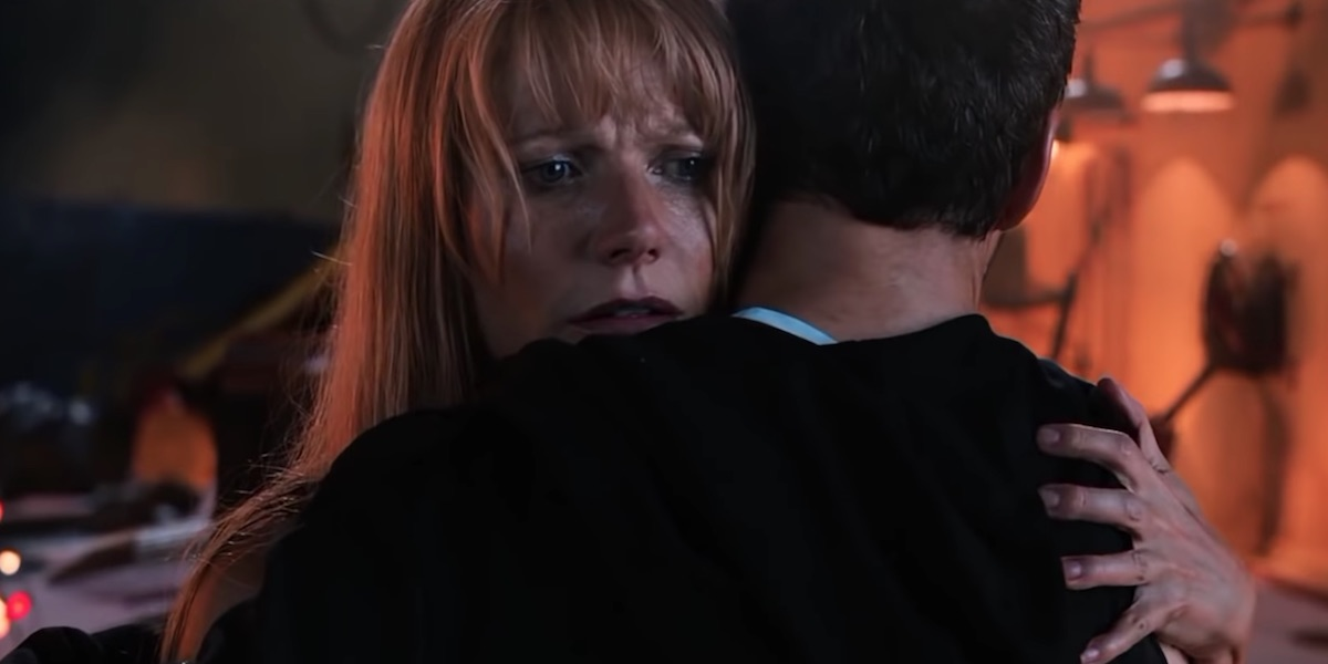 Pepper hugging Tony in Iron Man 3