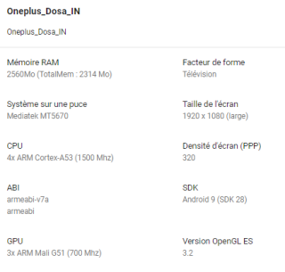 Leaky OnePlus TV specifications