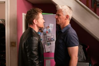 Robert Preston and Jed square up in Coronation Street