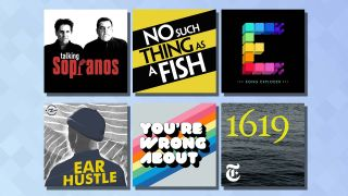 Logos for six of the best podcasts on a blue background