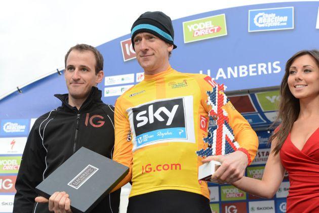 Bradley Wiggins on podium, Tour of Britain 2013, stage four