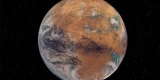 Artist's illustration of a Mars with Earth-like surface water. The Red Planet was a wet world in the ancient past.