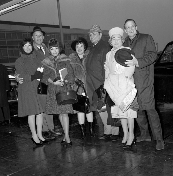 George Kennedy - left, with his wife Norma Wurman - at the premiere of The Flight Of The Phoenix