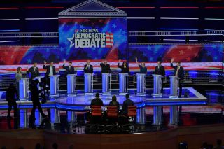 Democratic presidential candidates at a 2019 debate
