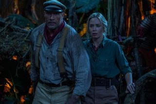 Jungle Cruise: Skipper Frank Wolff (Dwayne Johnson) and Dr Lily Houghton (Emily Blunt) are in the heart of the jungle