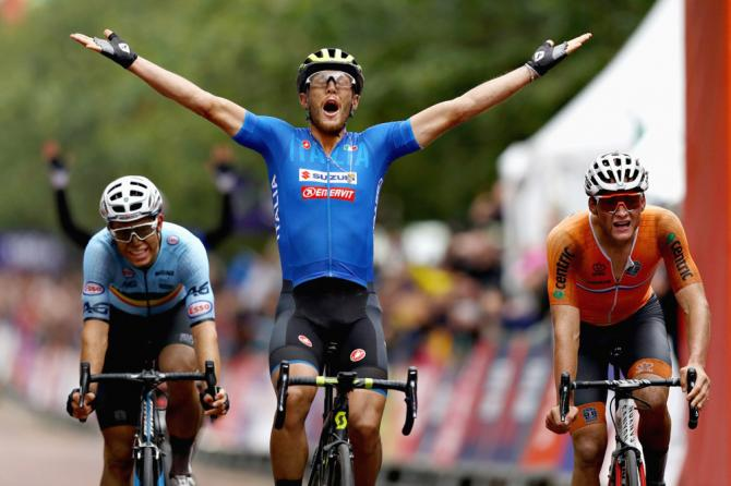 Matteo Trentin celebrates as van der Poel and van Aert realise they've been beaten