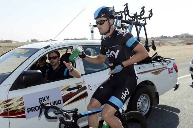 Bernhard Eisel at the team car, Tour of Qatar 2013, stage 3