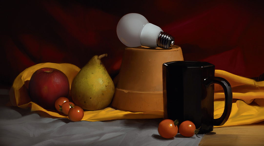 Still life of fruit, a lightbulb on a plant pot and a coffee mug