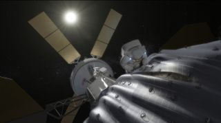 Artist's Concept of Astronaut Visiting Captured Asteroid