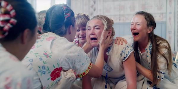 Florence Pugh crying and moaning with group in Midsommar