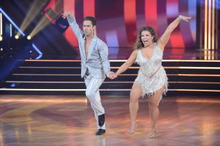 Sasha Farber and Justina Machado dance during the premiere of Dancing With the Stars on Sept. 14, 2020.