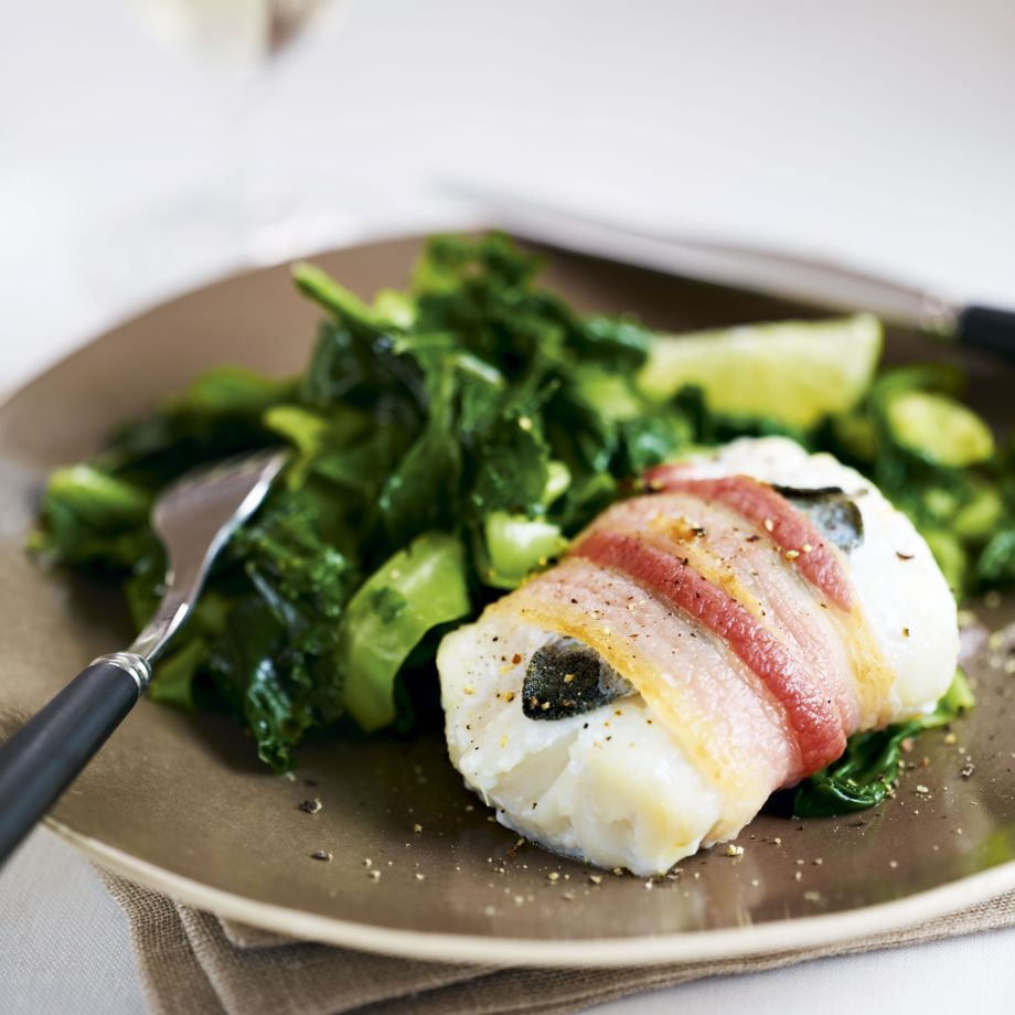 Baked Cod and Bacon with Sage and Greens Recipe