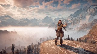 Horizon Zero Dawn's Aloy on a mountain top
