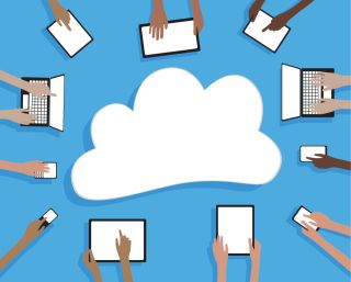 Illustration of hands using many devices and cloud