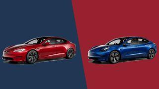 Tesla Model S and Tesla Model 3 side by side on a colored background