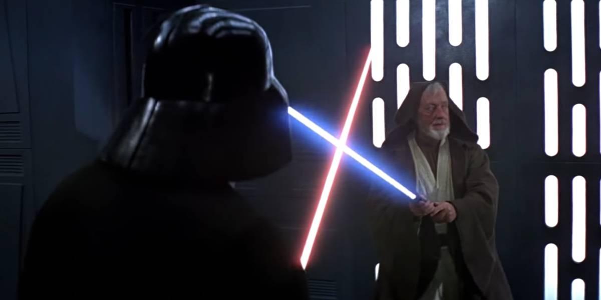 Obi-Wan Kenobi in a lightsaber duel with Darth Vader