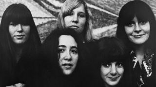 """Ace Of Cups"""" pose for a late 1960's portrait. (L-R) Marla Hunt, Denise Kaufman (front), Mary Simpson Mercy, Diane Hursh (front), Mary Gannon"""