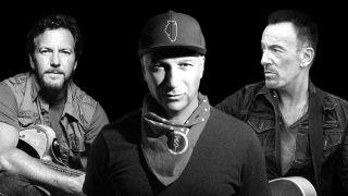 Tom Morello in-between Eddie Vedder and Bruce Springsteen