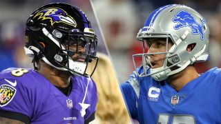 Baltimore Ravens quarterback Lamar Jackson (8) and Detroit Lions quarterback Jared Goff (16)