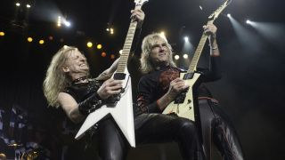 KK Downing and Glenn Tipton onstage in 2008