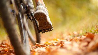 Foot on bike pedal