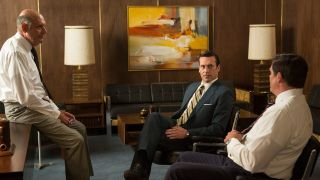 From left: H. Richard Greene as Jim Hobart, Jon Hamm as Don Draper and Paul Johansson as Ferg Donnelly in AMC's 'Mad Men'