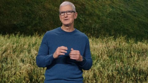 Tim Cook on stage at the Apple Event September 2021