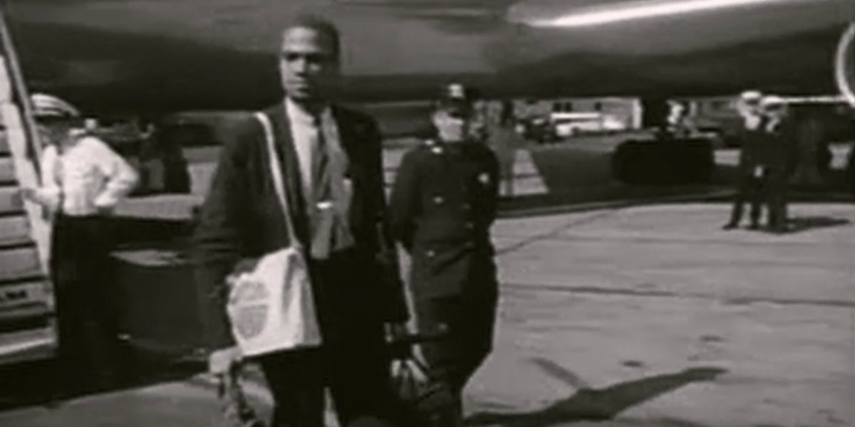 Archival footage of Malcolm X traveling to Africa in Blood Brothers: Malcolm X and Muhammad Ali