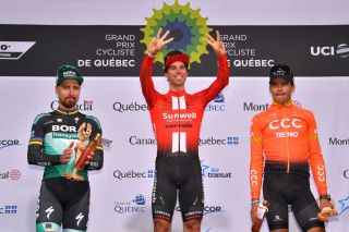 Sunweb's Michael Matthews celebrates winning the 2019 Grand Prix Cycliste de Québec – his third Canadian WorldTour victory after wins at Quebec in 2018 and in Montreal the same year – ahead of Peter Sagan (Bora-Hansgrohe) and Greg Van Avermaet (CCC Team)