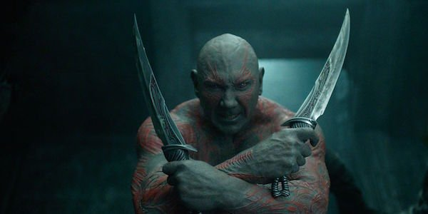 Drax with his knives in Guardians 1
