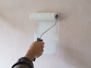 Painting new plaster with a mist coat