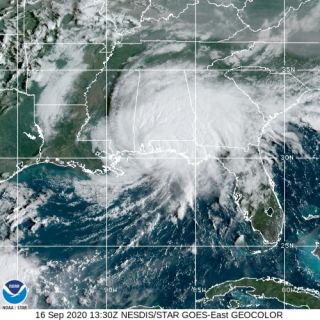 Hurricane Sally captured over Alabama and the Florida Panhandle on Sept. 16 at 9:30 am ET