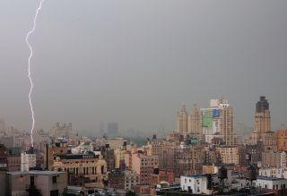 Lightning striking Manhattan's Upper West Side.