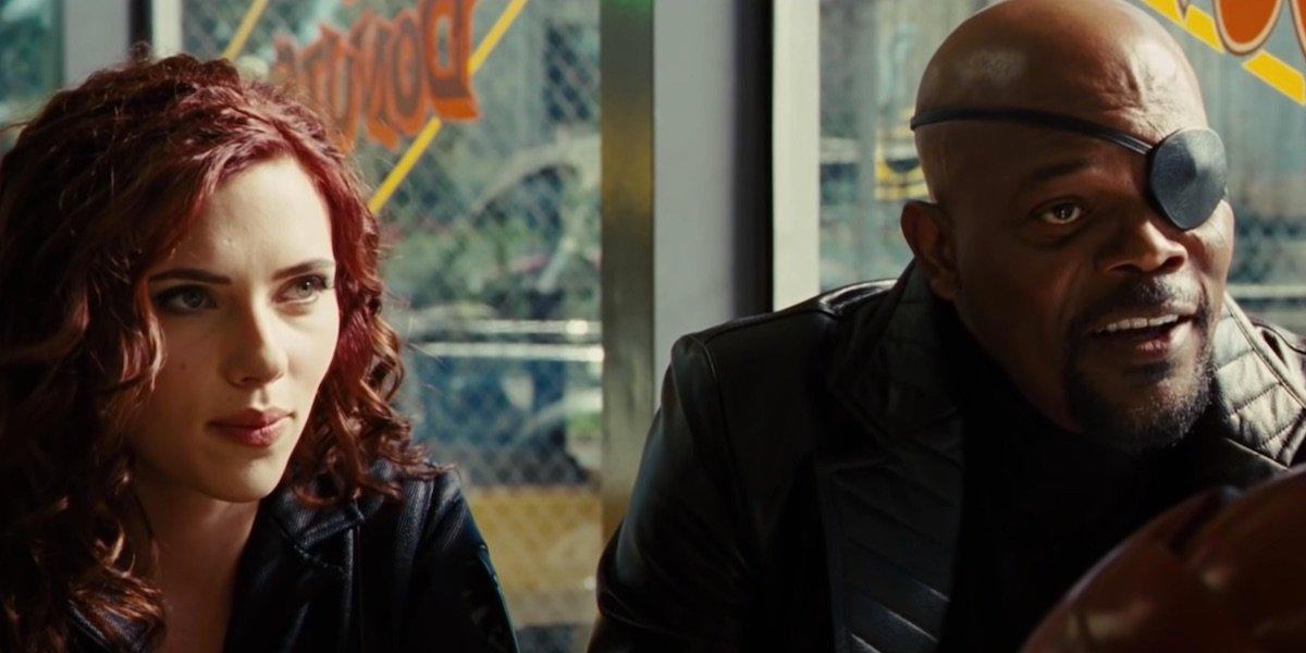 Scarlett Johansson and Samuel L. Jackson in Iron Man 2