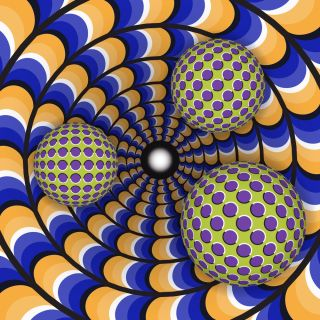 Optical illusion of rotation of three ball around of a moving hole. Abstract illustration.