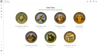 Classcraft screenshot showing tools for gamification such as The wheel of Destiny and The Riders of Vay