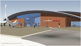 Conceptual rendering of the planned on-site visitors center at Spaceport America in New Mexico.