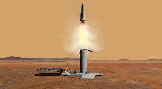 An earlier concept for a Mars ascent vehicle, which would transport samples collected from the Martian surface into orbit. Those samples would be returned to Earth by another spacecraft.