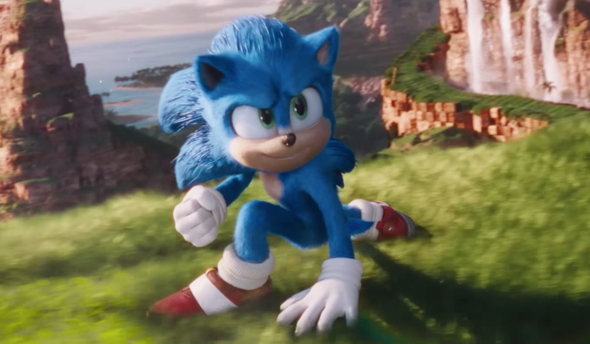 Sonic The Hedgehog power sliding in the Green Hill Zone