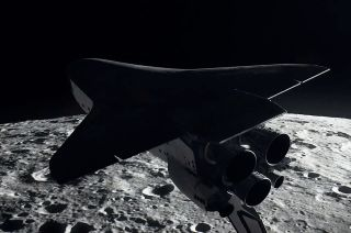 """The space shuttle Columbia orbits the moon in the second season of """"For All Mankind,"""" the alternate space history series."""