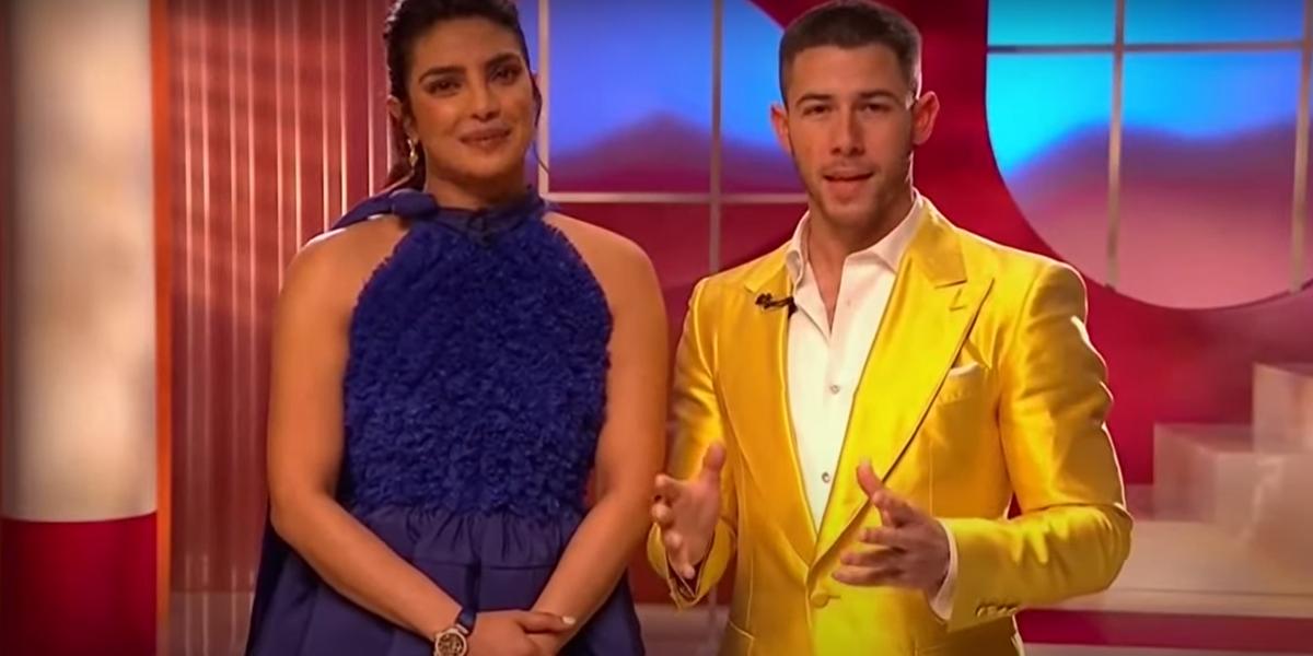 Priyanka Chopra Jonas and Nick Jonas announcing the 2021 Oscar nominations
