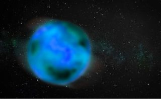 An artistic rendition of a nomad object wandering through the interstellar medium. The object is intentionally blurry to represent uncertainty about whether it has an atmosphere.