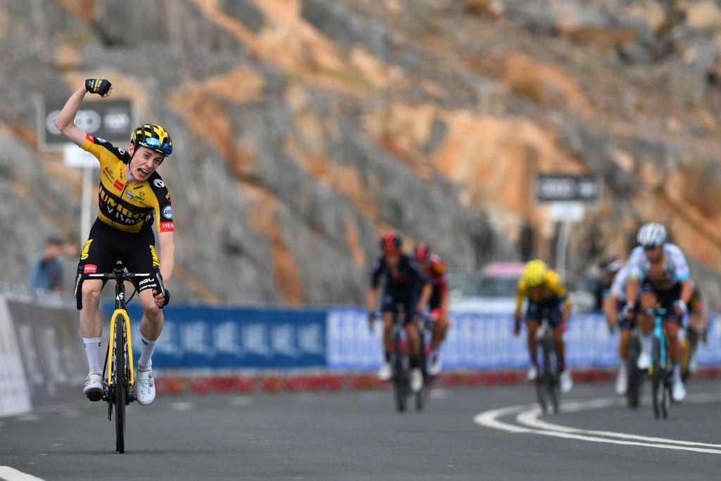 Jonas Vingegaard (Jumbo-Visma) celebrates his win
