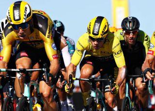 Wout Van Aert shepherding Primoz Roglic in the crosswinds at last year's Tour de France