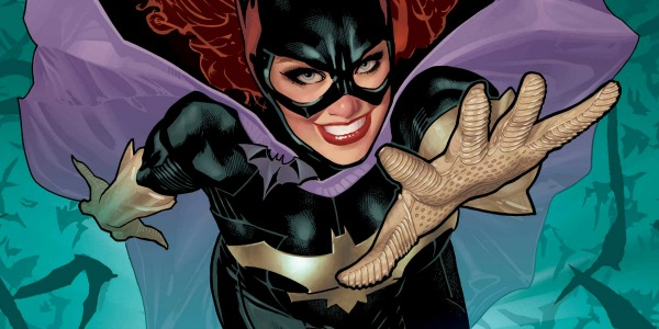 A comic book Batgirl reaching at the viewer