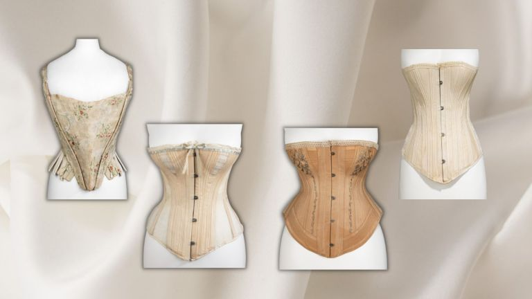 hourglass body shape: picture of four corsets