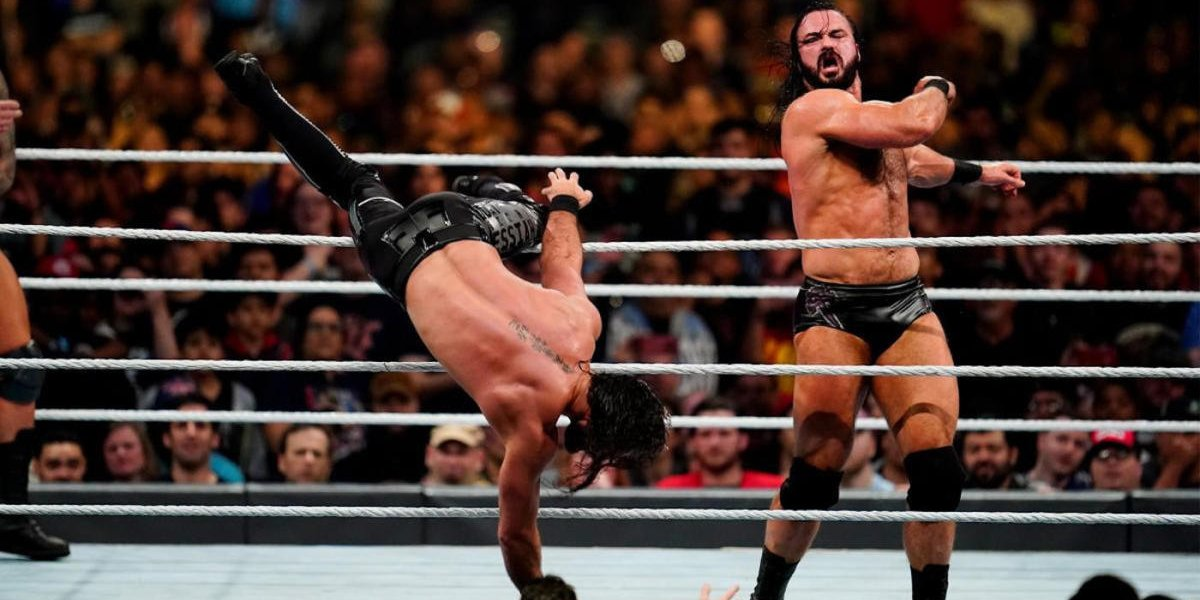 Drew McIntyre eliminating Seth Rollins at the Royal Rumble